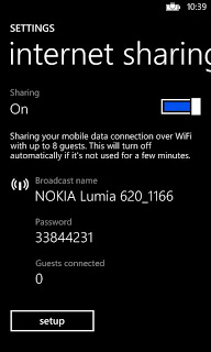 Sharing internet in Lumia 620