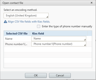 Import contacts to Samsung Kies
